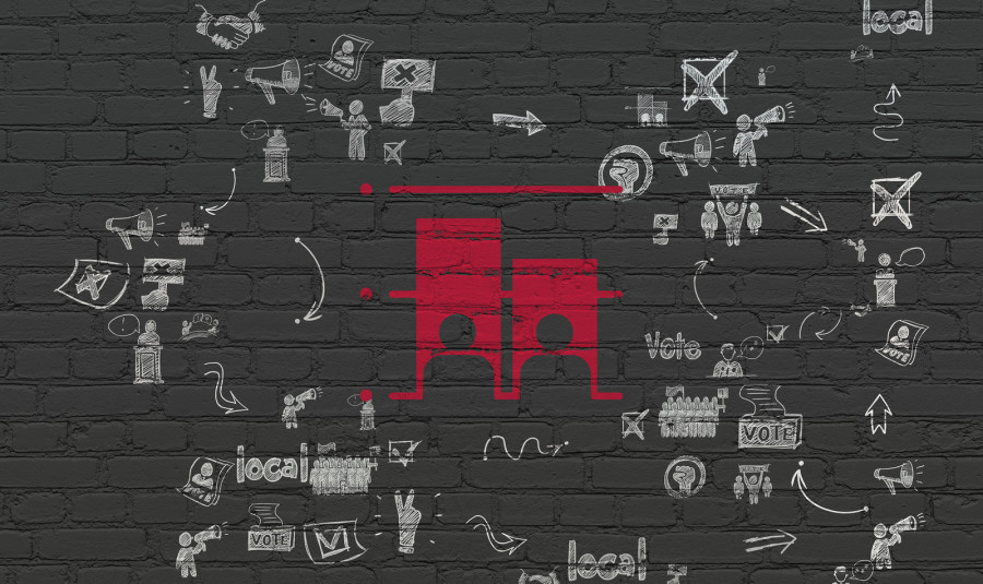 Political concept: Painted red Election icon on Black Brick wall background with Scheme Of Hand Drawn Politics Icons